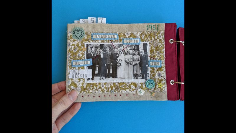 Stitchbook example using an old family wedding photo.
