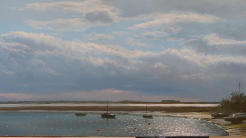 Four mile bridge Anglesey. Oil on board