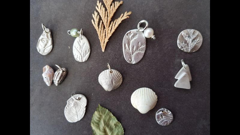 Pendants made at silver clay jewellery workshop