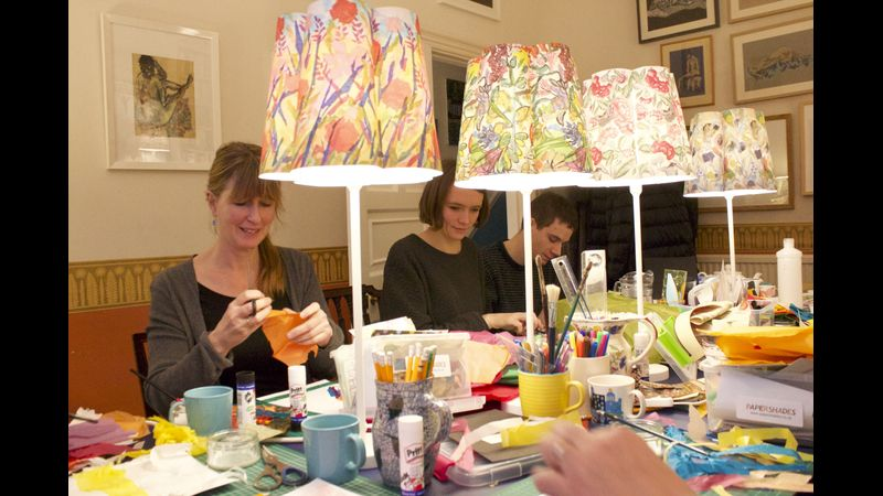Papershades workshop in action. Everyone busy creating their designs