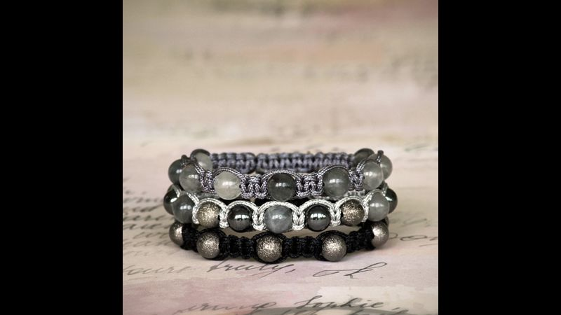 Bracelets with stone or bronze beads