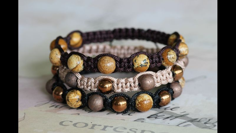 Bracelets with stone and bronze beads