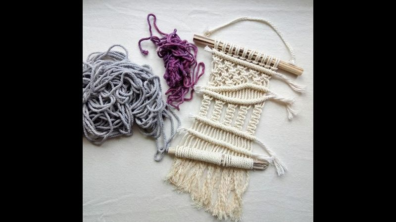 Macrame wall hanging ready for adding colour