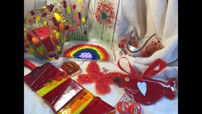 A selection of fused glass items to inspire you to create on the workshop