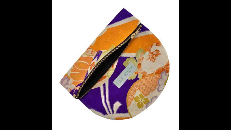 "Vintage kimono clutch bag handwoven in the UK ""orange and purple"""