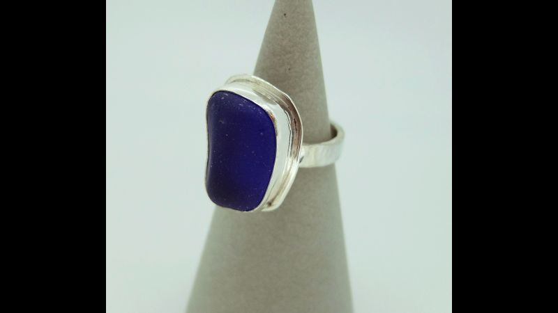 dark blue sea glass ring