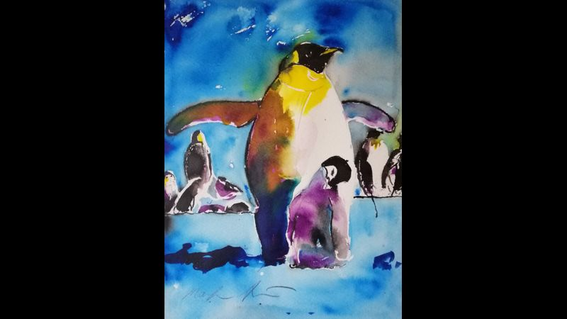 First mixed media penguin