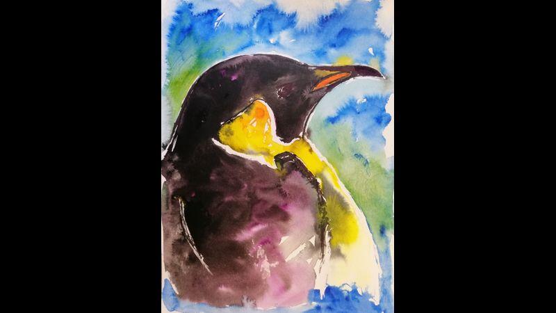 2nd mixed media penguin