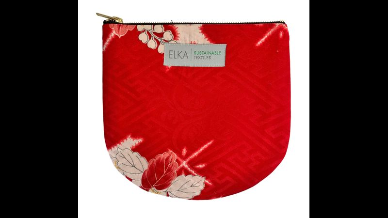 Vintage kimono pouch / purse / clutch. Handwoven in the UK. Red & White.