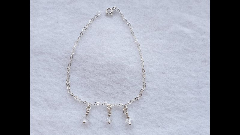 925 Sterling Silver Delicate Chain Bracelet ~ Double Terminated Herkimer Diamonds (Part of Set) see Holistic Properties