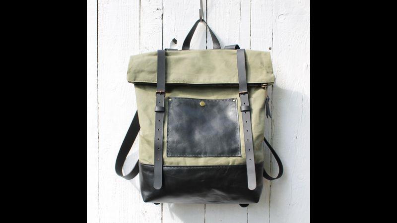 Khaki green canvas & black leather rucksack