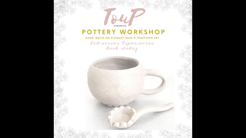 Hand craft beautiful ceramic mug and teaspoon set