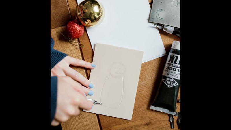 Lino printing Christmas cards