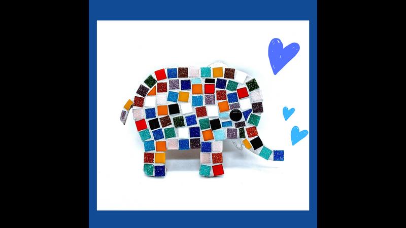 Multicoloured Rainbow African Elephant Family Mosaic Kit