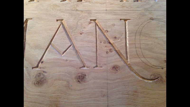 Letters in oak