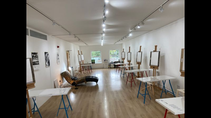 Louise's studio at the Queens Hall in Narberth, Pembrokeshire.