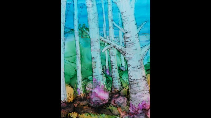 Alcohol Ink Trees