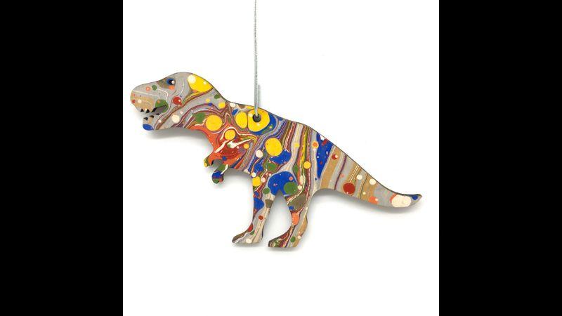 Dinosaur marbled woodcut multicoloured