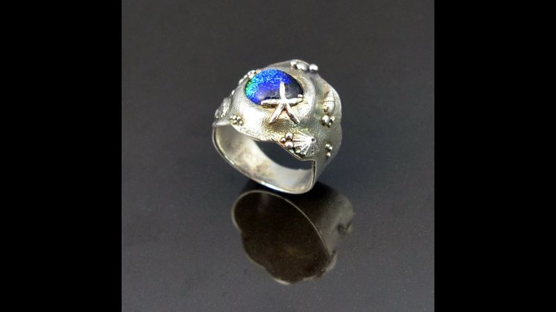 Glass and Silver Clay Ring by Tracey Spurgin of Craftworx