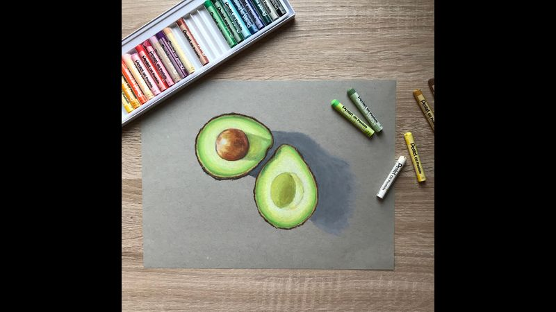 Project 2 - oil pastel avocados