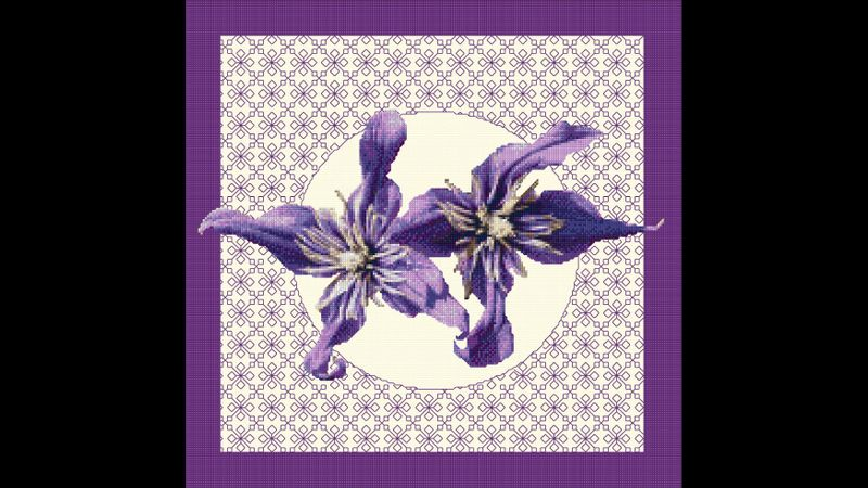 Cross stitch & Blackwork embroidery Clematis from DoodleCraft Design