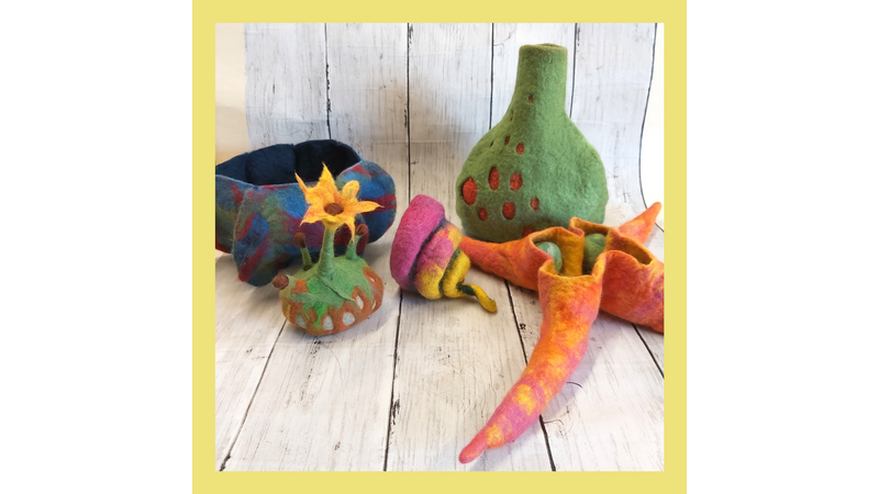 Intermediate wet felt techniques - samples of bowls, double-walled vessels, fibre art, and book resists for 3D objects