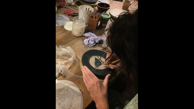 Removing background on a Sgraffito plate