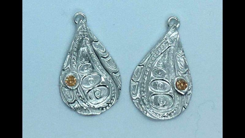 Embedded stone earrings