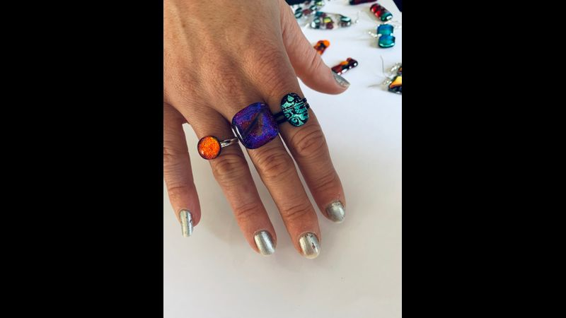 Dichroic glass rings student makes