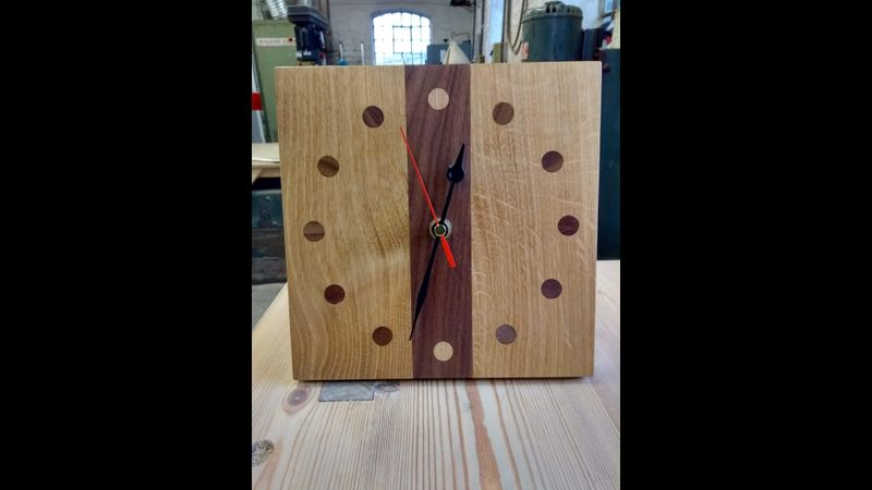 English Oak and Walnut wall clock