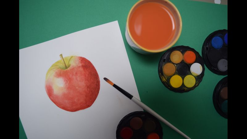 Watercolour Beginners Apple painting
