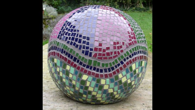 Mosaic sphere - student's work created on zantium studios mosaic course
