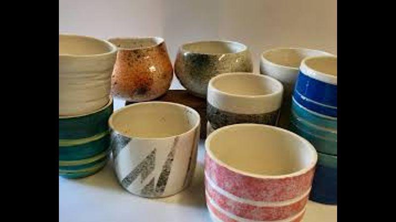 Thrown pots,  couples potter's wheel. Geraldine Francis Ceramics Nr. Devizes