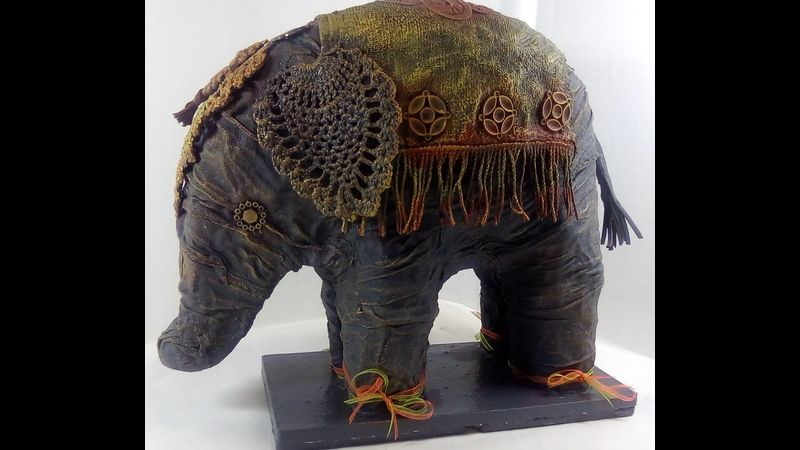 Fabric Sculpted Ceremonial Elephant