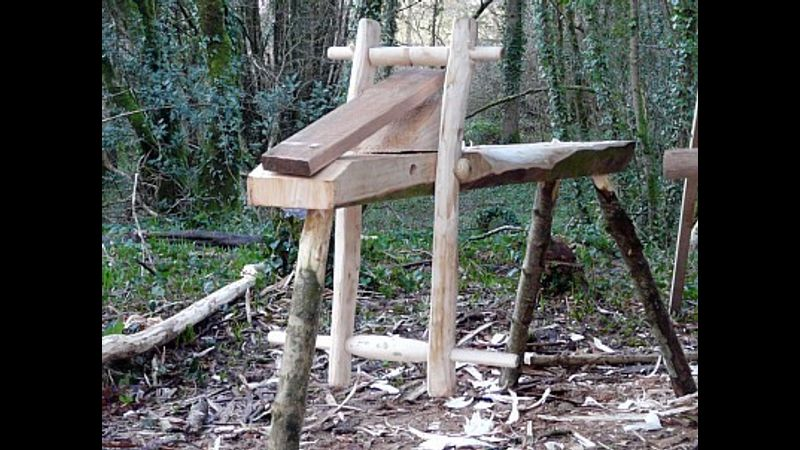 A traditional greenwood shave horse