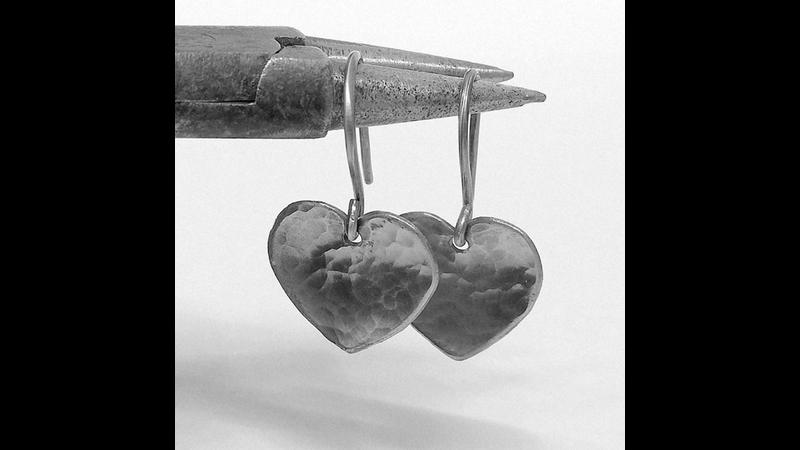Silver heart earrrings