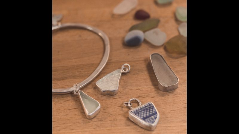 A selection of bezel settings, using seaglass. There's plenty to choose from, we have tons in stock!