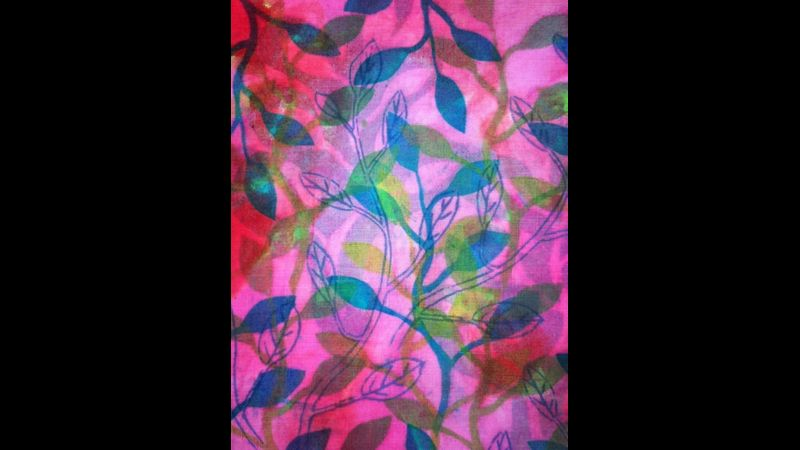 Fabulous layers of leaf print giving depth and strength of colour
