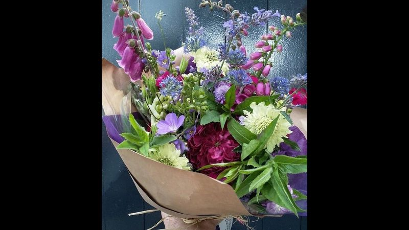 Arranging flowers at Cowshed Creative in the Lake District National Park