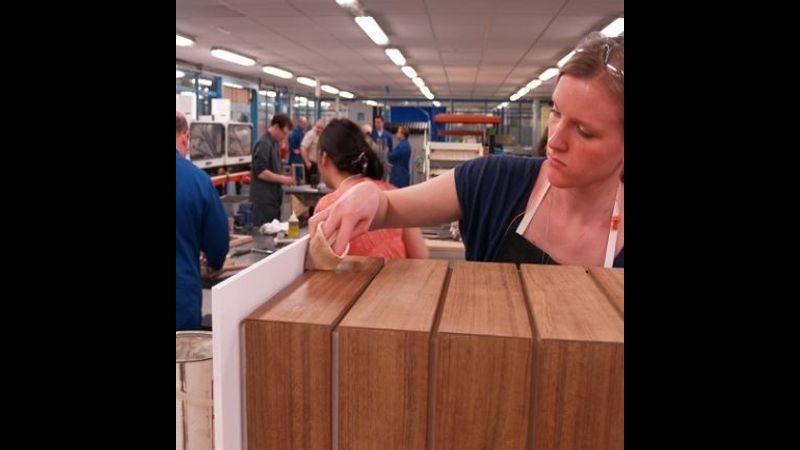 Student working in Furniture Design workshops at NTU