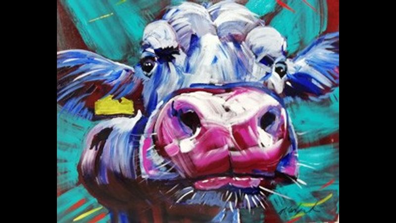 Cheeky cow in acrylic