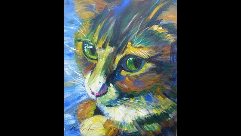 cat in acrylic