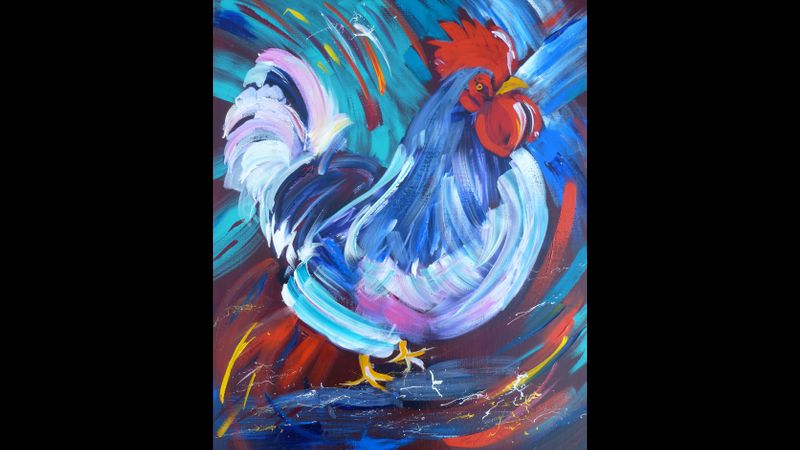 Vibrant acrylic rooster