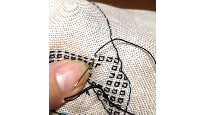 Blackwork embroidery filling stitches