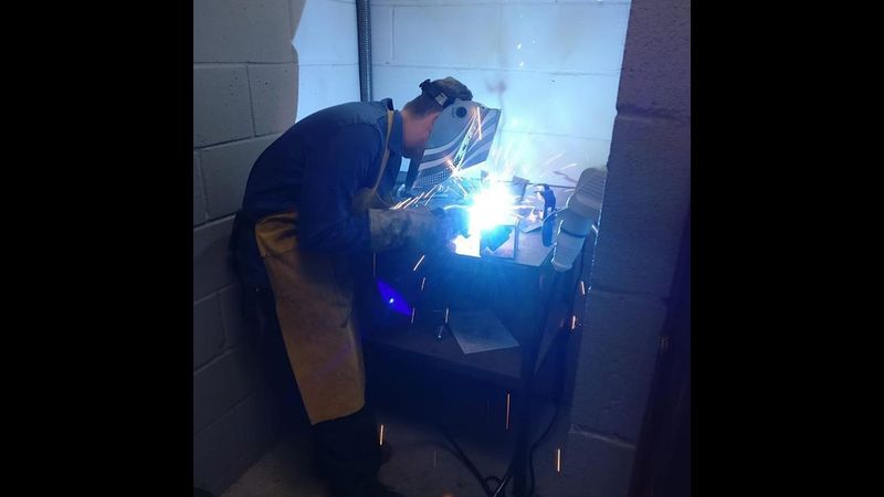 A student enjoying the MIG Welding Process with our high quality P.P.E provided.