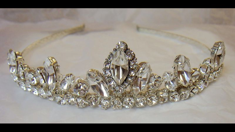 Marquise Tiara created with Swarovski Elements and wire wrapped onto headband (for illustration)