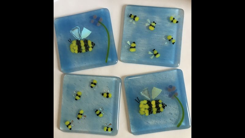 Save the bees. Charming coasters made at Fusing Ideas Glass, Shropshire by complete beginners.