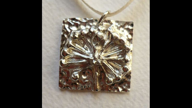 Silver clay pendant based on natural forms, made in my Devon studio