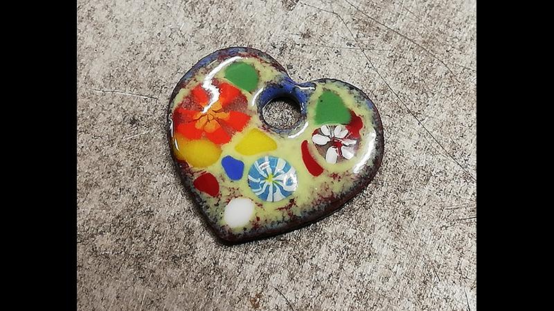 Vitreous enamelled heart pendant