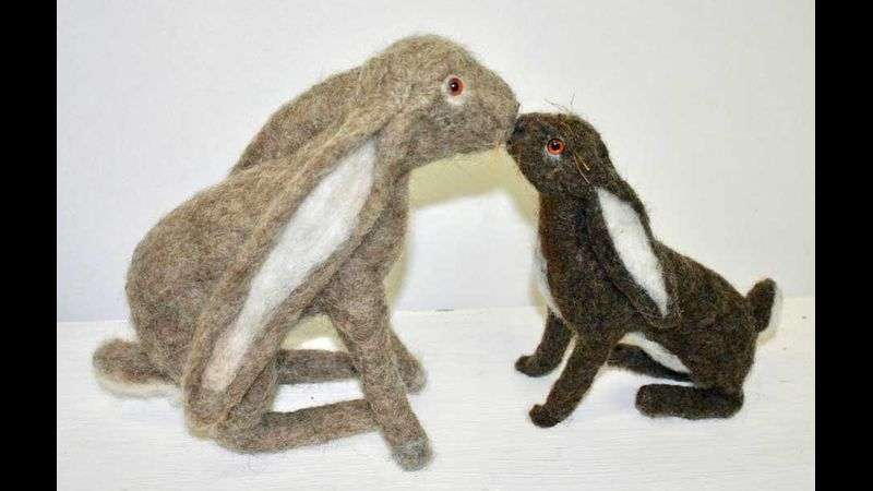 Two hares made by student in the workshop
